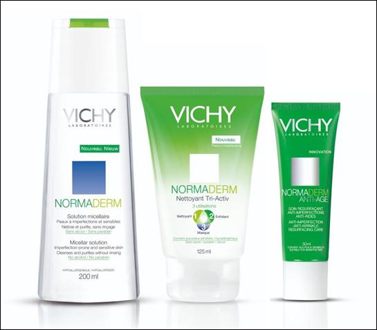 Vichy Normaderm Lugnande ansiktsvatten Micellar Solution, Tri-Activ Rengöringskräm, Anti-Age Dagcreme