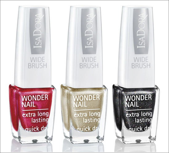 Wonder Nail Wide Brush Merry Red (727) Black Galaxy (728) Gold Sparkles (652)