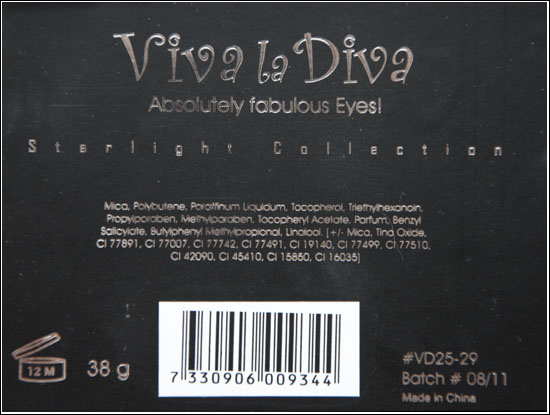 Viva la Diva Starlight  Eyeshadow Palette Ingredienser