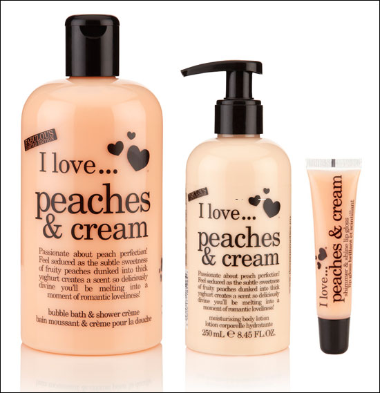 I Love Peaches & Cream Limited Edition Bubble Bath & Shower Creme, Moisturizing Body Lotion, Shimmer & Shine Lip Gloss