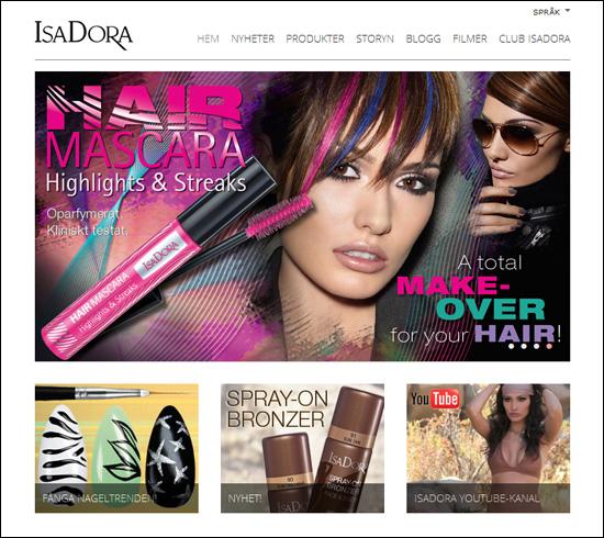 Skärmdump Isadora.com/sv (13/02-2012)