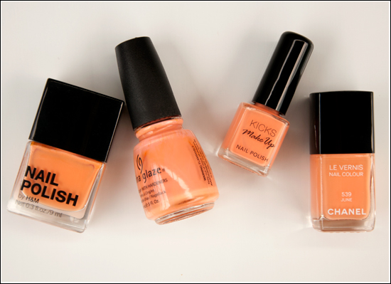 Chanel June, China Glaze Peachy Keen, H&M Peach Me Soon, KICKS Chilly Bellini