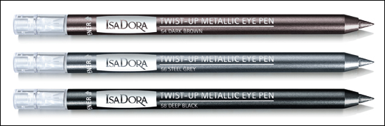 Twist-up Metallic Eye Pen Dark Brown 54, Steel Grey 56, Deep Black 58